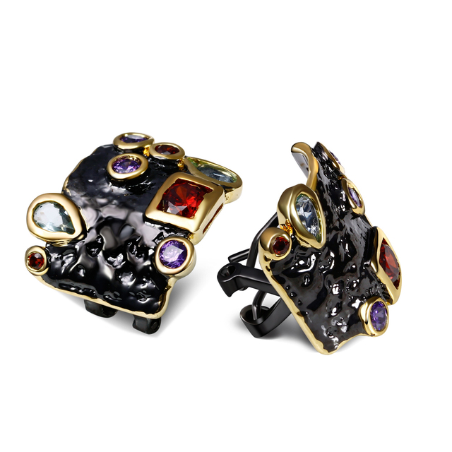 DC1989 Free shipping New Elegant evening cocktail Black Gold Plated Earrings Cubic Zirconia Copper Stud earrings for women (E10)