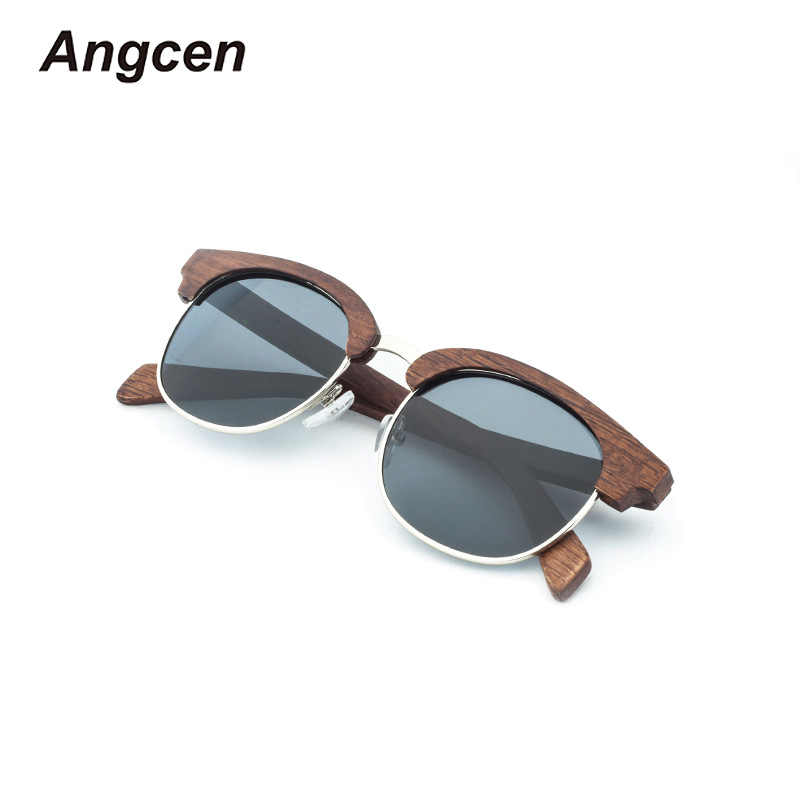 9eb1b4dd8cabe Angcen Vintage Wooden Sunglasses Men Woman Polarized Mirror Half Frame Sun  Glasses Handmade Wood Eyewear UV400