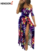 נשים גודל גדולות להתלבש 2017 שמלת הקיץ הארוך מקסי בהדפס פרחונית נשים באורך קרסול גבוה סדק שמלה בוהמית AQ969461 נשי