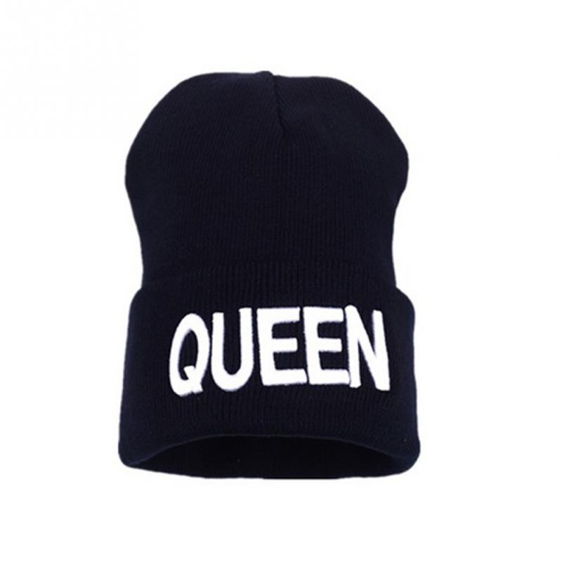 Fashion Luxury King Queen Beanie Winter Hats Cap Men Women Hat Knitted Hip  Hop Hat Couple Warm Winter Cap 856a3acf9e2
