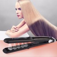 CkeyiN 110 240V Professional Steam Ceramic Hair Straightener Flat Iron Steam Straightener Vapor Hair Flat Iron