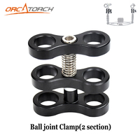 Dual Arm Clamp Mount Bracket 2 Section Ball Joint Clamp For Underwater Diving Photography Video Light Torch