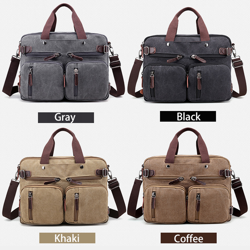 Image 2 - Men Handbags Canvas Shoulder Crossbody Messenger Bags Solid High Capacity Man Casual Travel Multifunction Back Pack Laptop 2018-in Shoulder Bags from Luggage & Bags