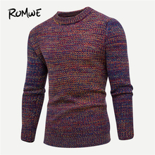ROMWE Men Rust Space Dye Jumper Male Casual Autumn Winter 2019 Clothing Fashion Mens Sweater Tops Long Sleeve Pullovers Knitwear