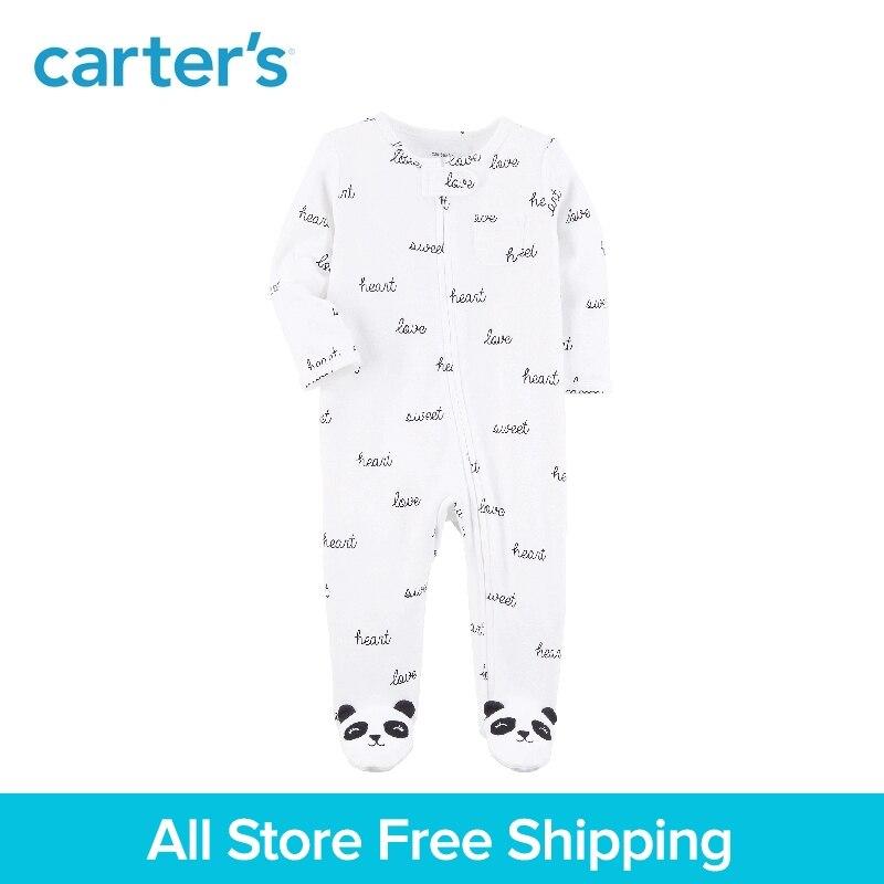 1 pcs coton doux slogans Zip-Up panda footies une-pièce de Carter bébé garçon fille Printemps Automne vêtements Sommeil & Play 115G544