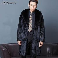 XXXL Male Long Design Faux Fur Trench Coats Fashion Autumn And Winter Black Turn Down Collar