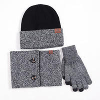Hat Scarf Gloves Set for Women Men Cotton Warm Knitted Hat Scarf Set for Male Female Hats Touch Screen Gloves neck warmer