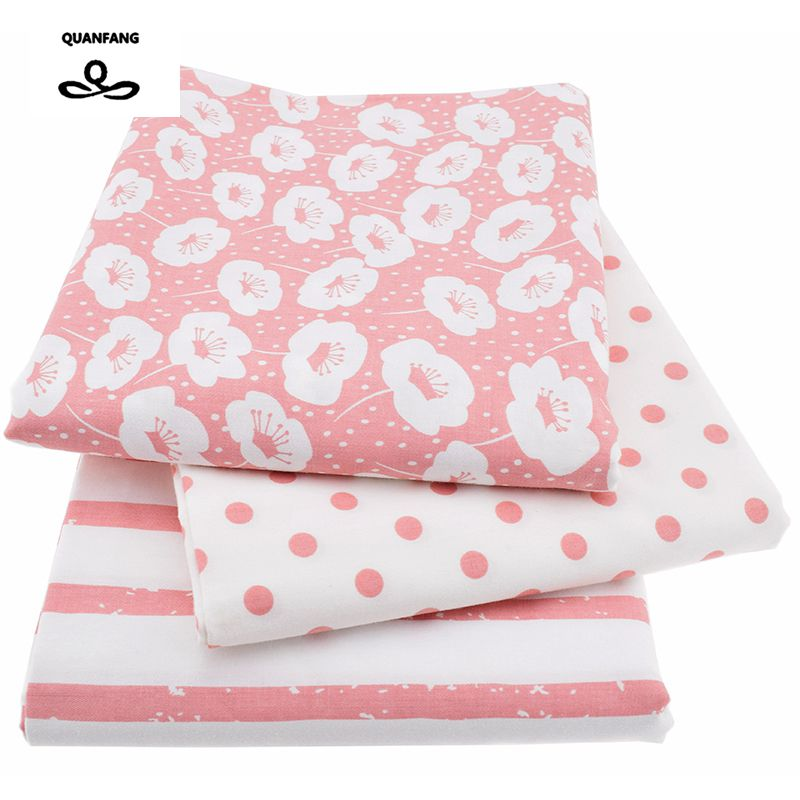 3Pcs/Lot Printed Twill Cotton Fabric For Sewing Quilting/Baby Tissue/Children Bed Sheet/Sleepware/Curtain/ Material Pink 40x50cm