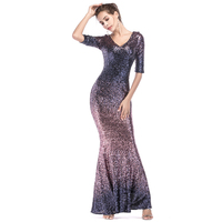 U SWEAR 2019 New Arrival Elegant Women Mermaid Prom Dress Sequined High Waist V Neck Slim Dress Vestidos Largos De Fiesta