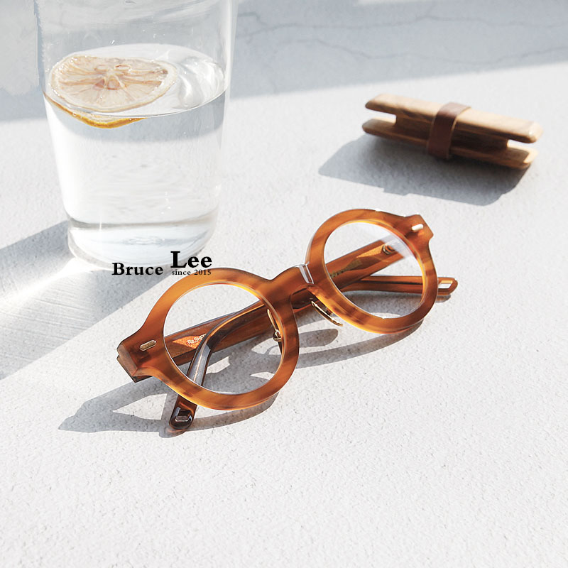 High Quality Handmade Japanese Acetate Frame Retro Spectacles Eye Glasses Circular Frame Thick Tortoise Frame Street Style