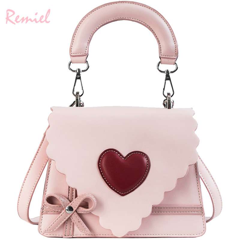 Sweet Cute Girl Handbags 2018 Fashion Women's Designer Handbag High Quality PU Leather Women Bag Bow Tote Shoulder Messenger Bag