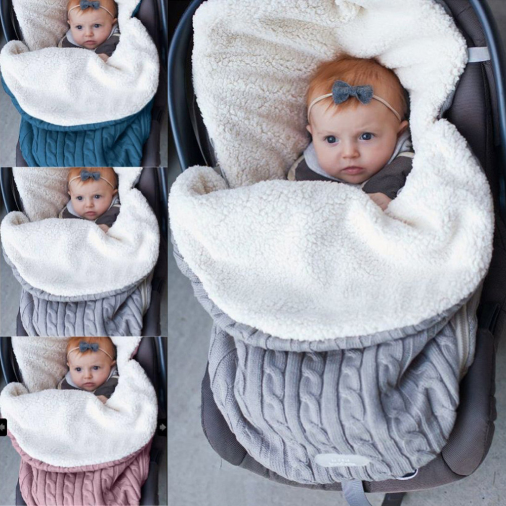 2019 Thick Baby Swaddle Wrap Knit Envelope Sleeping Bag Newborn Infant Warm Bands Indoor Infant Stroller Sleeping Bag