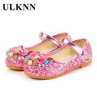ULKNN Spring Autumn Kids Leather Flat Shoes For Girls Princess PU Leather Dance Party School Children