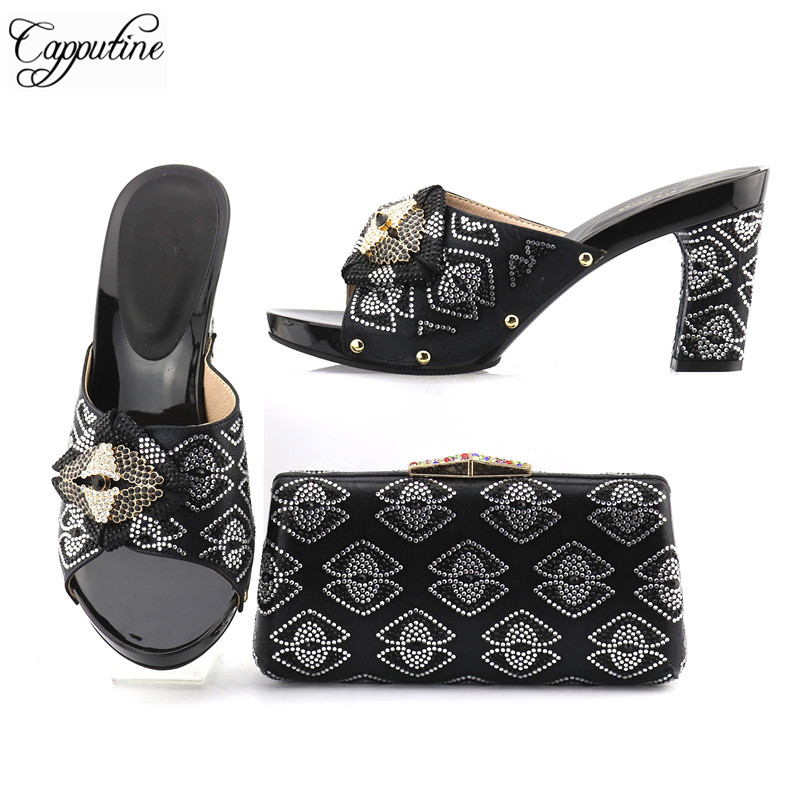 Capputin New Arrival Italian Rhinestone Ladies Shoes And Bag Set Nigerian Prety Party High Heels Shoes And Bag Set For Woman