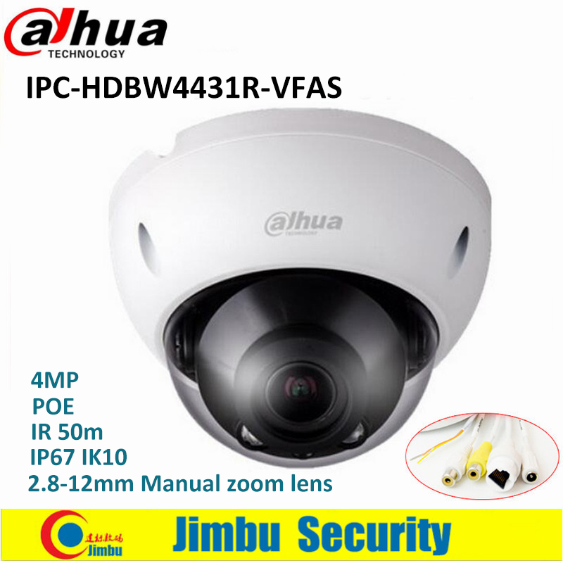 Dahua IPC-HDBW4431R-VFAS 4MP Network Dome IP Camera H265 2.8-12mm Manual zoom lens POE IR 50m with Audio Interface CCTV Camera h 265 264 ipc lwirdnts400s 4mp ip camera 2 8 12mm varifocal manual zoom lens 4mp ir 30m with sd card slot poe network camera