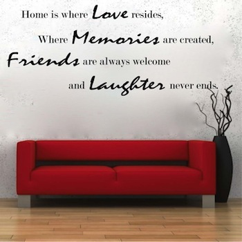Home Is Where Love Resides Family Cute Cool Living Room Removable Wall  Decal Quote Wall Stickers