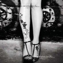LEEMIN Temporary Tattoo, Black Rose Retro Style, Leg/arm/back Waterproof Tattoo Sticker,