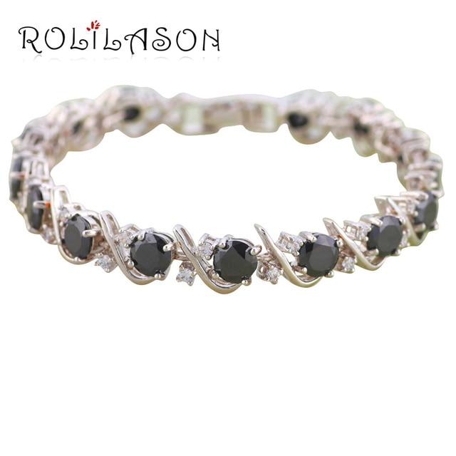 Black Onyx Aaa Zrcon Crystal Silver Bracelets For Women Health Nickel Lead Free Fashion