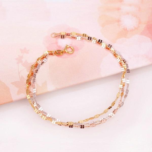 Multi-tone 18K Gold Bracelet for Women Four-leaf Clover 18K Multi-color White Yellow Rose Bracelet Fashion Fine Jewelry