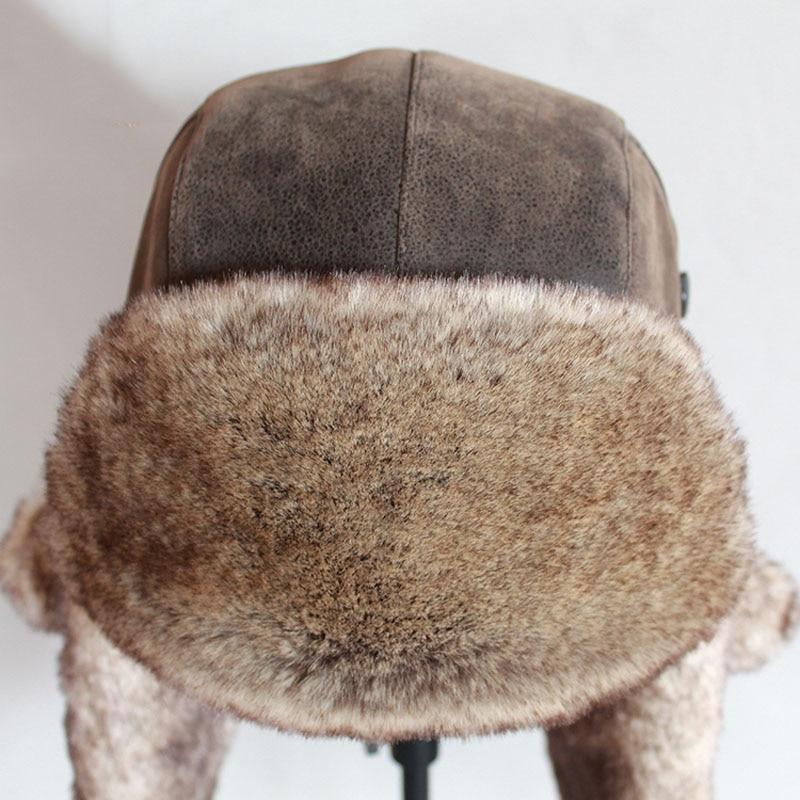 Bomber Hats Winter Men Warm Russian Ushanka Hat with Ear Flap Pu Leather  Fur Trapper Cap  Earflap 4