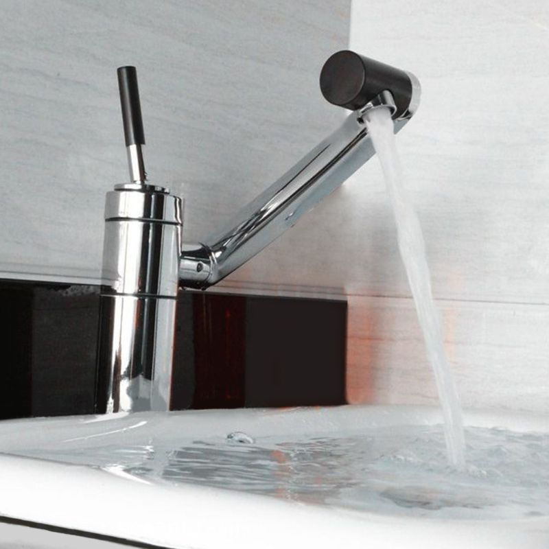 Luxury Deck Mounted Bathroom Kitchen Faucet Waterfall Polished Chrome Finished 360 Swivel Tap Mixer Basin Sink Faucets