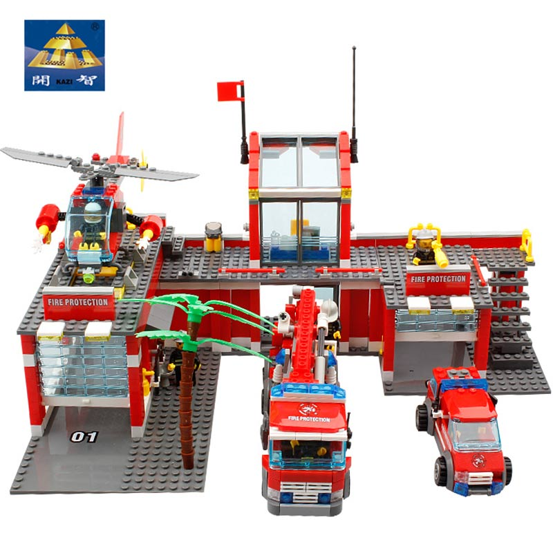 KAZI 8051 Building Blocks Fire Station Model Blocks Compatible All Brand Bricks Block ABS Plastic Educational Toys For Children kazi fire department station fire truck helicopter building blocks toy bricks model brinquedos toys for kids 6 ages 774pcs 8051