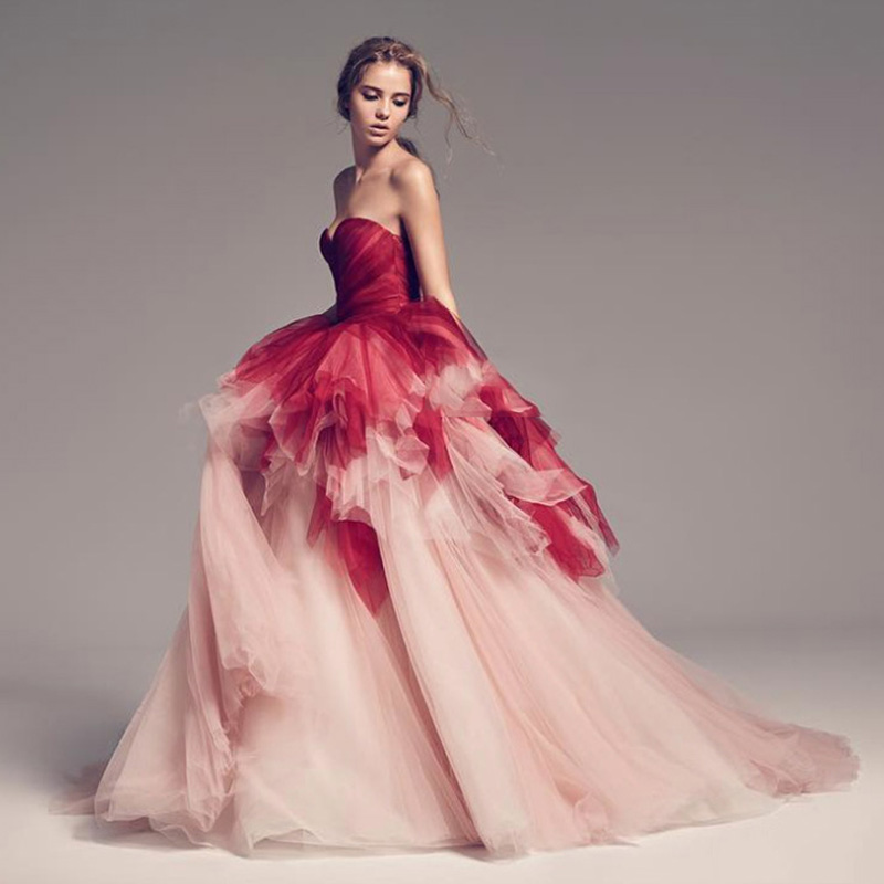 Vintage Mix Color Tulle Prom Gowns Pretty Ruffles Long Formal Dresses For Evening Party Robe De