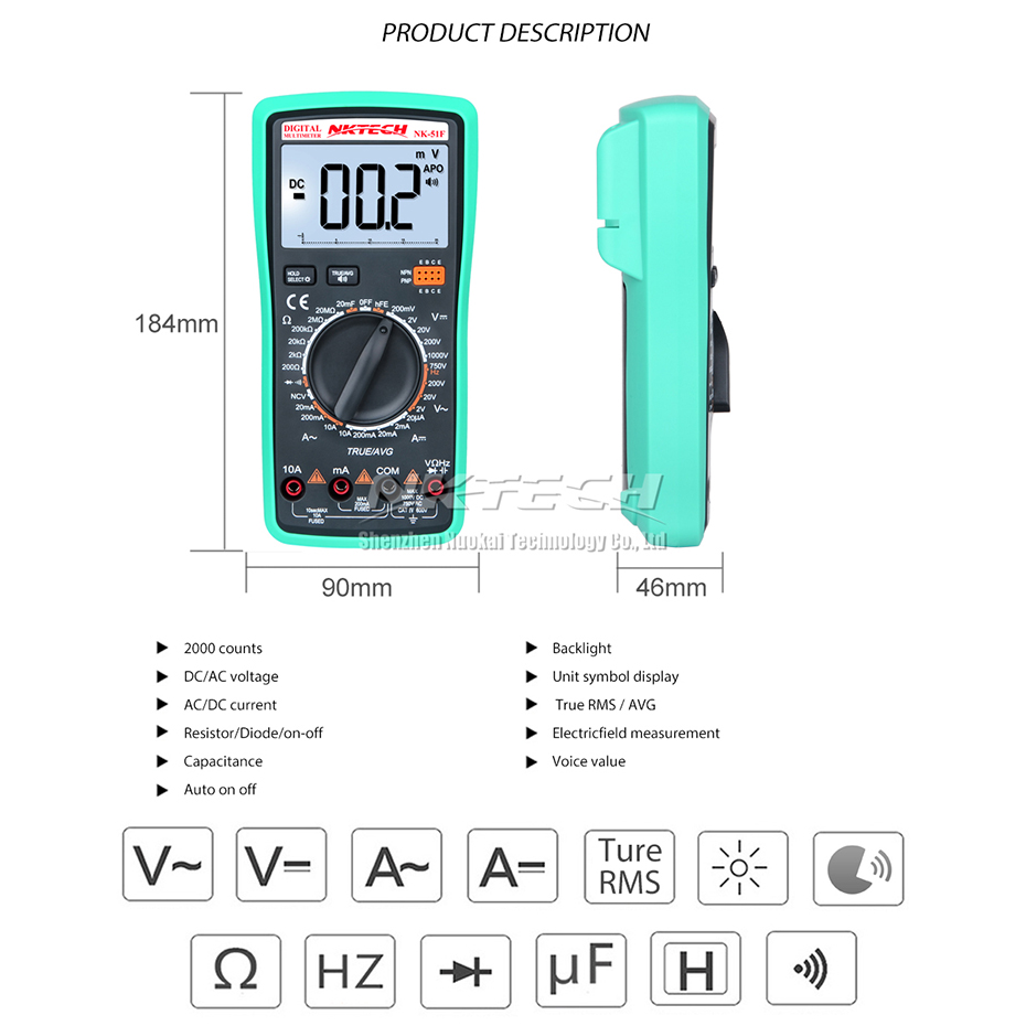 NKTECH Digital Multimeter Voice Value NK 51F True RMS Capacitance ...