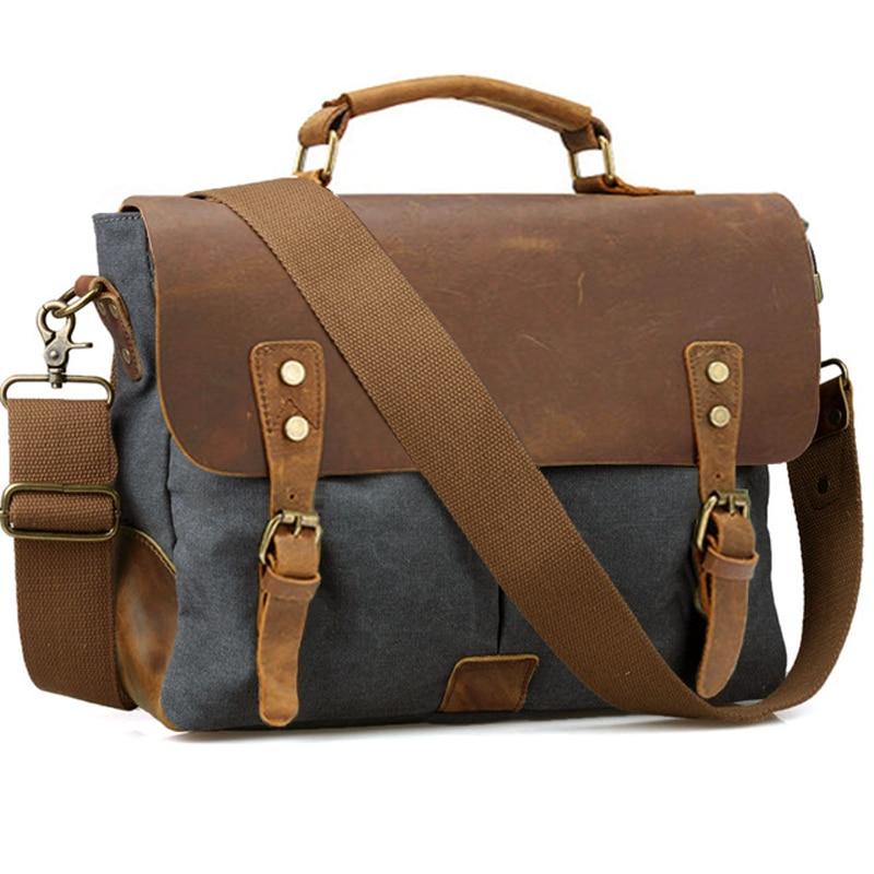 Vintage Leather + Canvas men briefcase Business bag Portfolio men office bag male canvas briefcase attache case document tote  diving equipment