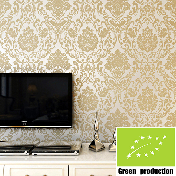 Modern european gold wallpaper for walls 3d flock printing for Gold wallpaper for walls