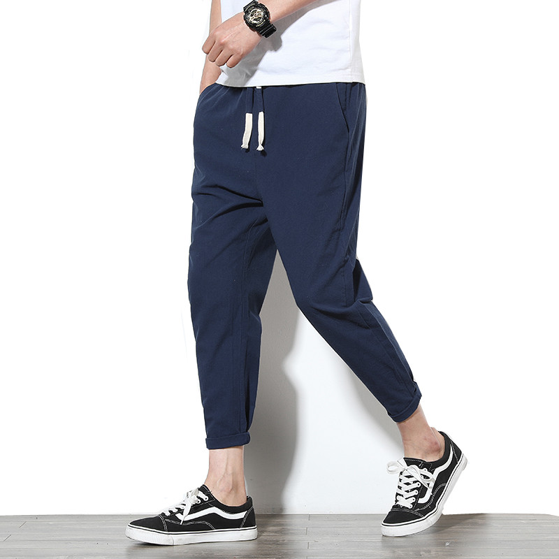 Ankle-Length Linen Pants Men