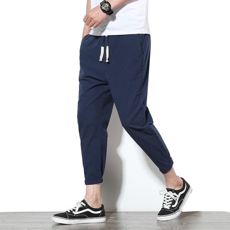 Ankle-Length Linen Pants Men
