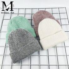 Новая зимняя женская шапка из кроличьего кашемира, вязаные шапочки, толстые теплые, Vogue, Женская шерстяная шапка из ангорской шерсти, женские шапочки