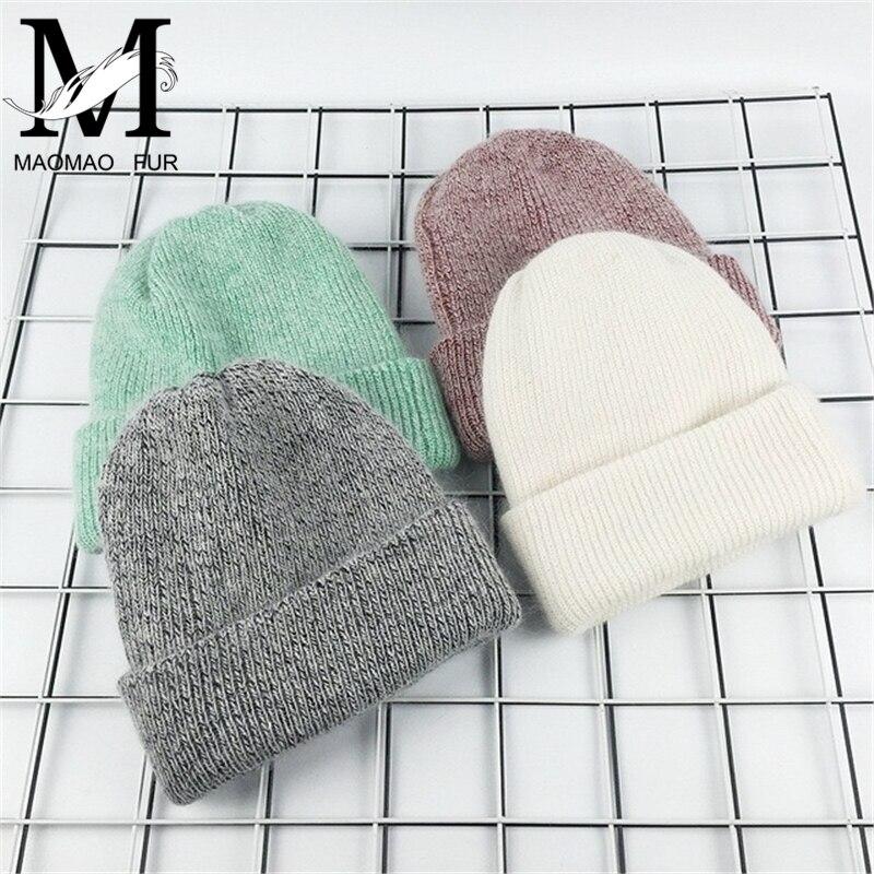 2017 Neue Winter Hut Für Frauen Kaninchen Kaschmir Gestrickte Mützen Dicke Warme Vogue Damen Wolle Angora Hut Weiblich Beanie Hüte Hell In Farbe