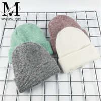 2017 novo chapéu de inverno para mulheres coelho cashmere malha beanies grosso quente vogue senhoras lã chapéu de angora feminino gorro chapéus
