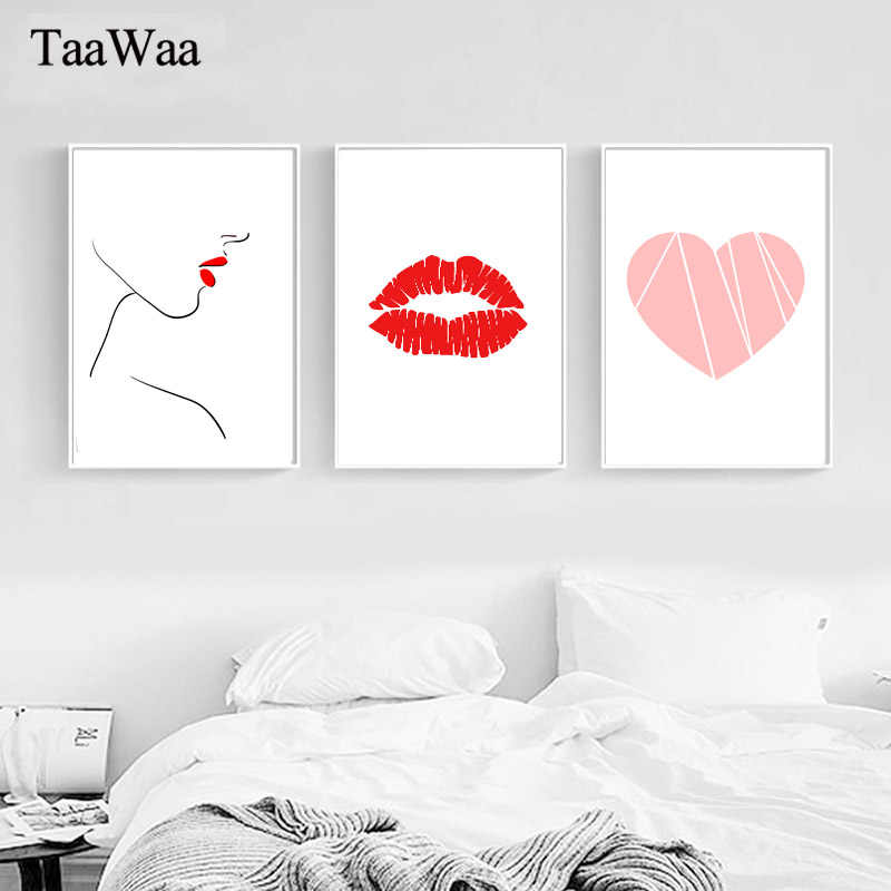 Simple Pink Flamingo Love Canvas Poster Nordic Art Canvas Painting Decorative Wall Picture for Living Room Modern Home Decor