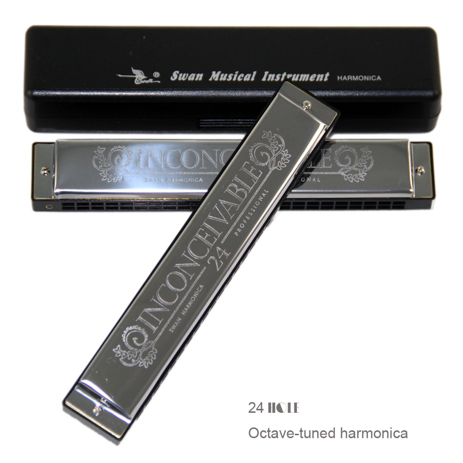New 2019 Upgraded Version Swan 24 Holes Octave-tuned Harmonica,metal Harmonica  Key Of C With Case
