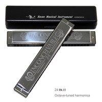 Nova versão atualizada 2020 de cisne 24 furos octave-tuned harmonica metal harmonica chave c com estojo