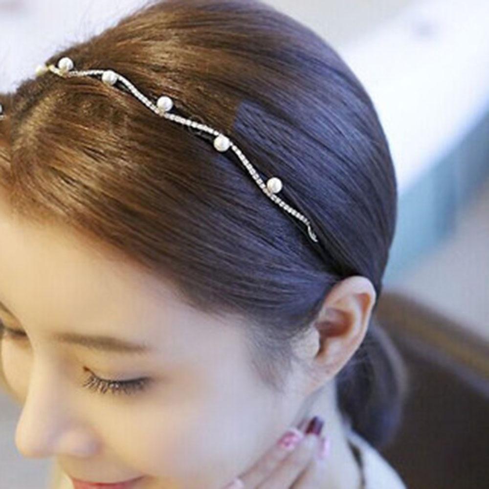 1pcs New Fashion 2019 Rhinestone Imitation Pearl Elegant Wave Simple Fine Hair Band Accessories Hot Selling