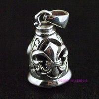 stile retrò di ancoraggio decorazione floreale 925 ciondolo in argento sterling campane