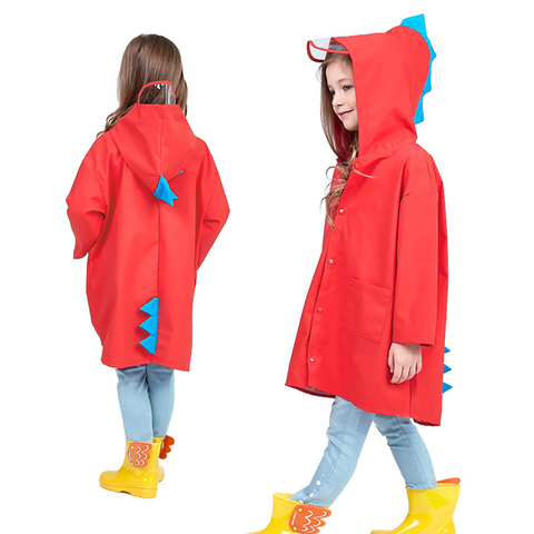 1PC Cute Little Dinosaur Waterproof Polyester Rain Coat Boy Children Girls Windproof Poncho Kindergarten Student Baby Raincoat Multan