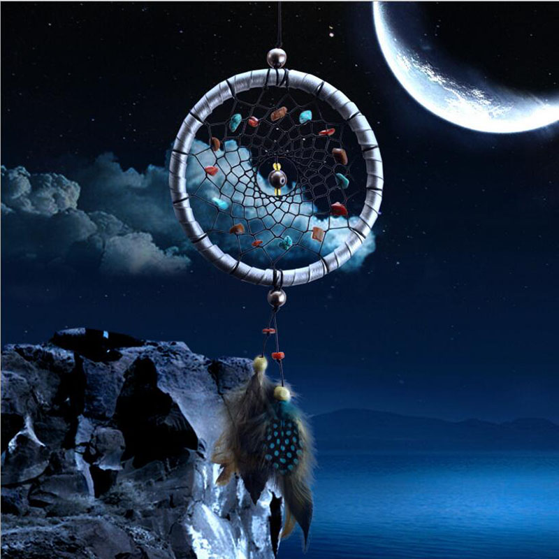 Estilo indiano Dream Catcher Dreamcatcher Sinos de Vento Net com Pena Pendente Carro Pendurado Decoração Reve Attrape Parede Home Decor
