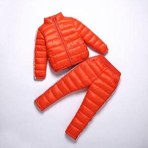 Image 4 - חורף ילדים אימונית אופנה מעיל + מכנסיים ילדים די שחור ספורט חליפת עבור בנות 6 7 8 9 שנים סתיו בני בגדי סט אדום