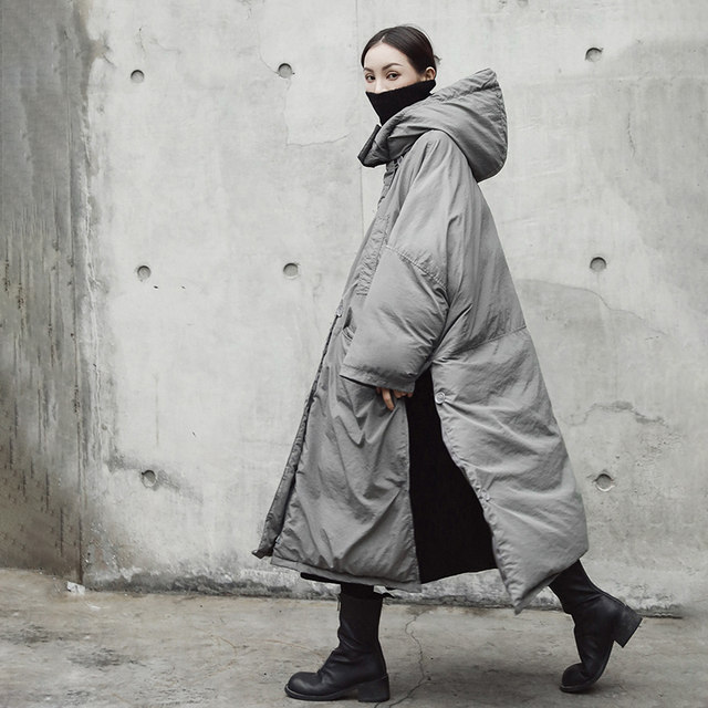 [EAM]  Hooded Cotton-padded Gray Oversize Long Warm Coat Long Sleeve Loose Fit Women Parkas Fashion Autumn Winter 2019 JE02002 29