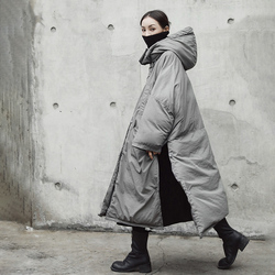 [EAM]  Hooded Cotton-padded Gray Oversize Long Warm Coat Long Sleeve Loose Fit Women Parkas Fashion Autumn Winter 2019 JE02002 5