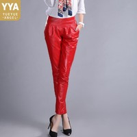 Elegant High Quality Leather Pants Women High Waist Pleated Slim Trousers Office Lady Red Black Sheepskin Pencil Pantalon Mujer