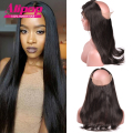 Natural Hairline 360 Lace Frontal Closure Indian Straight Hair Lace Frontal 360 Lace Virgin Hair Lace Frontals With Baby Hair