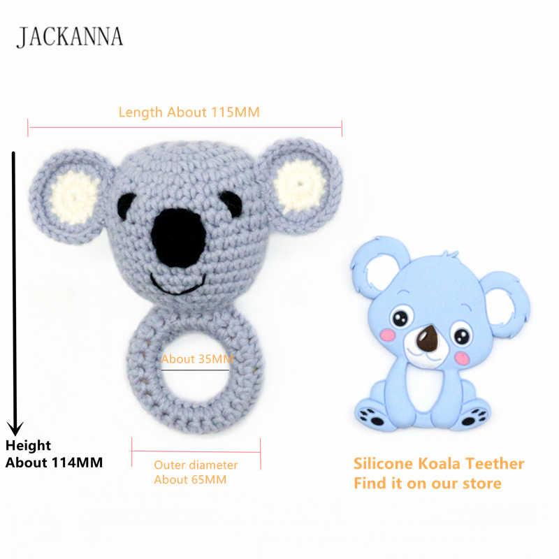 Baby Teether โครเชต์รูปแบบ Koala Rattle Bell Amigurumi Rattle สัตว์ Teether แหวนเด็กของเล่นเด็กทารกแรกเกิดของขวัญ 1 PC