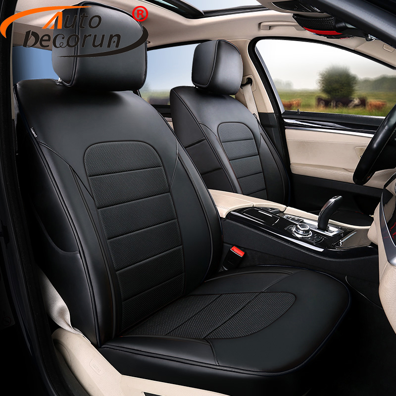 AutoDecorun Perforated Genuine Leather Seat Covers for VW Volkswagen Multivan T5 Seat Cover Cowhide Tailored 7 Seats Protectors