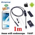 Iphone endoscópio hd 8mm wifi câmera de inspeção cobra tubo endoscópio 1 m à prova d' água endoskop ios iphone android computador mac